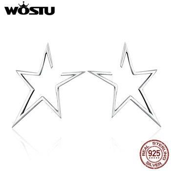 b4074d8979d1 WOSTU marca auténtica 100% Estrella de plata esterlina 925 luz pendiente  para las mujeres joyería de moda Bijoux regalo CQE107