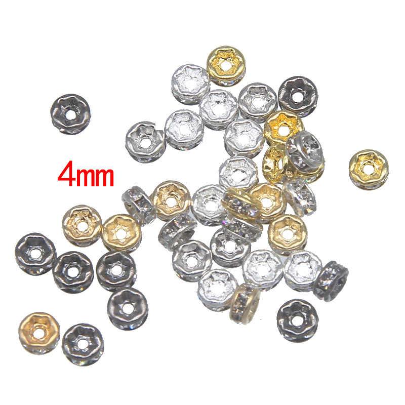 100 Pcs/lot 4 6 7 8 10 Mm Emas Warna Perak Berlian Imitasi Rondelles Kristal Manik-manik Longgar Pengatur Jarak Manik-manik untuk DIY membuat Perhiasan Accessorie