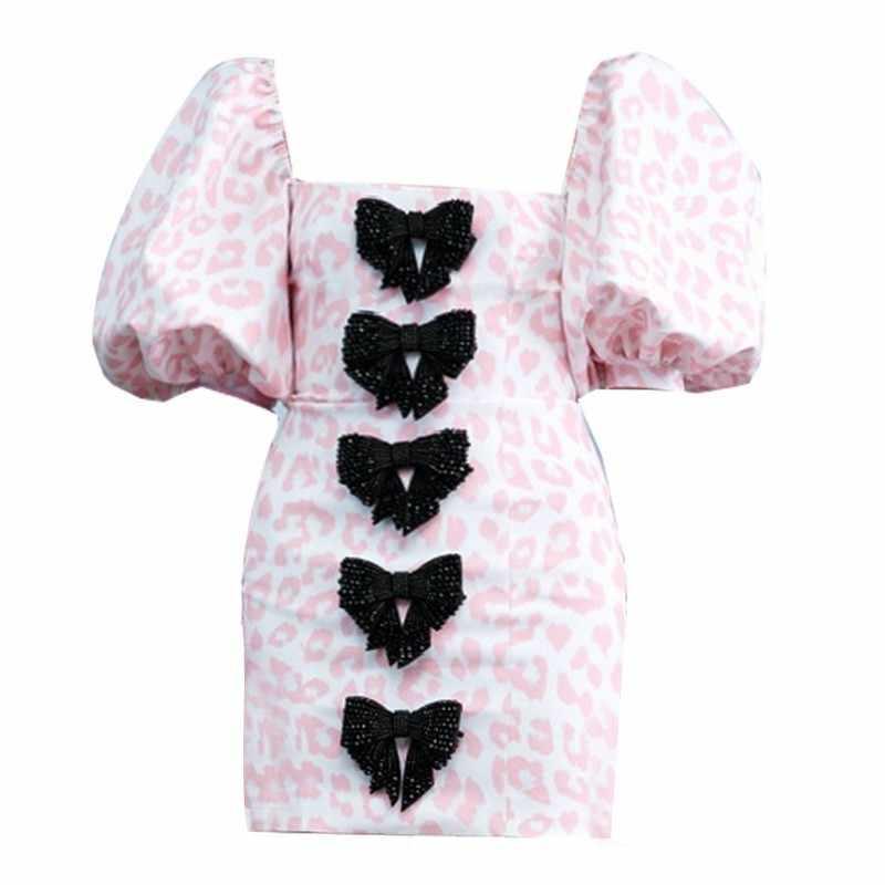 CHICEVER сексуальное леопардовое платье для женщин квадратный воротник с пышными рукавами с высокой талией, из лоскутов, с бантом, тонкие Мини платья женские летние 2019