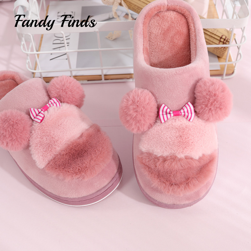 Fandy Finds Pom Poms Faux Fur Ladies Home Slippers Autumn Winter Flat Soft Non-Slip Women Ladies Bowknot Girls Indoor Slippers цена 2017