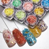 Japanese Nail Fashion 12 Boxes Set Hot Multicolor Mixed Natural Shell Marble Powder Glitter Nail Sequins