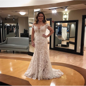 Image 1 - Vintage 2019 Wedding Dresses Off The Shoulder Lace Bridal Gowns Sheath Style Cap Sleeves Vestido De Noiva Custom Wedding Gown