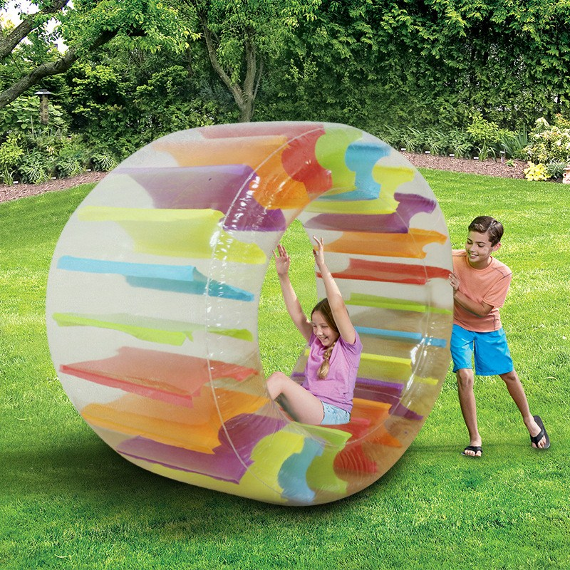 90cm Giant Colorful Inflatable Grass Water Wheel Roller Kids Swimming Pool Float Ball Water Beach Balloons Outdoor Family Toys цена