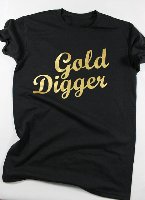 3c5d0271eba63 Gold Digger Gold Letter Print tshirt Funny tumblr fashion clothes Sayings  Quote tee Women s t shirt cotton t-shirts