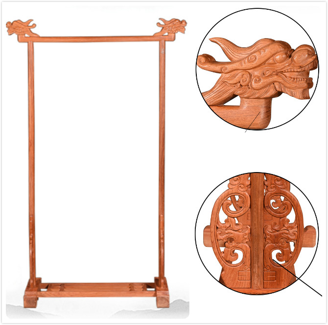 Excellent Luxurious Carving Clothes Stands Redwood Home Living Room Furniture Bedding Solid Wood Coat Rack China Retro Classical wfgogo home furnishing solid wooden living coat rack stands scarves hats bags clothes shelf