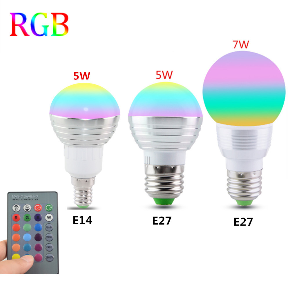 где купить E27 E14 LED 16 Color Changing RGB Magic Light Bulb Lamp 85-265V 110V 120V 220V RGB Led Light Spotlight + IR Remote Control по лучшей цене
