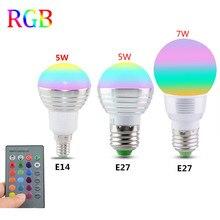 E27 E14 LED 16 צבע שינוי RGB קסם אור הנורה מנורת 85 265V 110V 120V 220V RGB Led אור זרקור + IR שלט רחוק