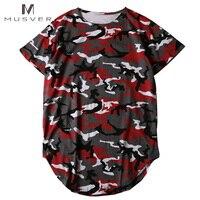 Curved Hem Various Camouflage T Shirt Men 2017 Summer Longline Extended Camo Hip Hop T Shirts