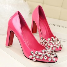Sexy Women Pumps 2016  Rhinestone flower decoration  Round Toe High Heels Women Shoes Thick Heels Women's  Shoes 6 Colour