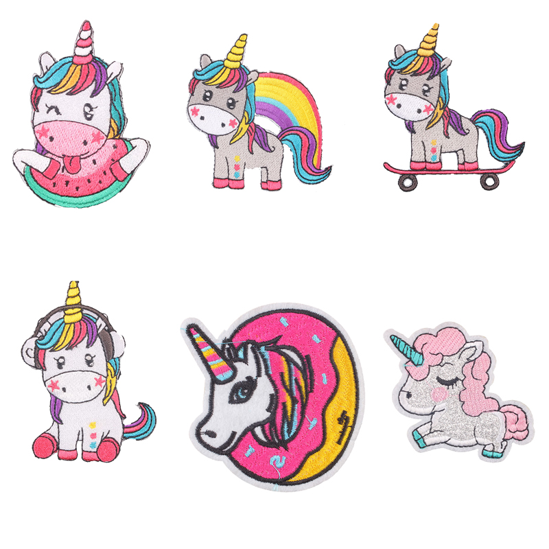 Hippie Unicorn Iron on Patches Magic Accessories Pig Embroidered for Clothes Applique Kids Dress T-shirts DIY E