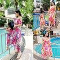 Нерегулярные Мать Дочь Платья Соответствия Летней Одежды 2016 Семья Посмотрите Девушка и Мать Платье Шифон Пляж Платья Наряды