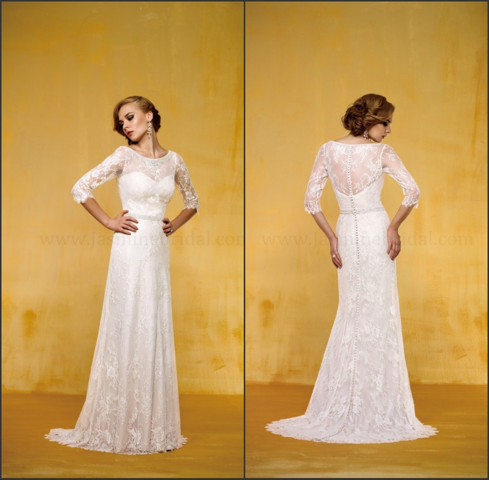 Simple Casual Long Sleeve Wedding Dresses