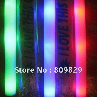 hot   Free Shipping hot sale 360pcs/lot led flashing foam stick, light cheering glow foam single color led foam stick for party