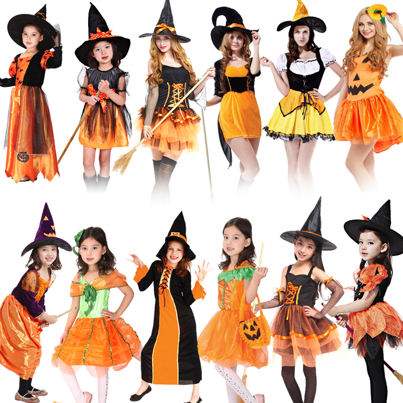 HOT!Halloween Witch Pumpkin Cosplay Costume Girls Role Play Performance Dance Show Masquerade Princess Dress up  clothes