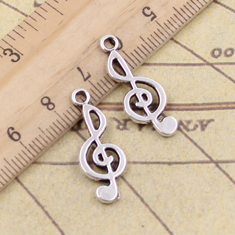 20pcs/lot Charms Musical Note 26x10mm Tibetan Silver Pendants Antique Jewelry Making DIY Handmade Craft For Bracelet Necklace