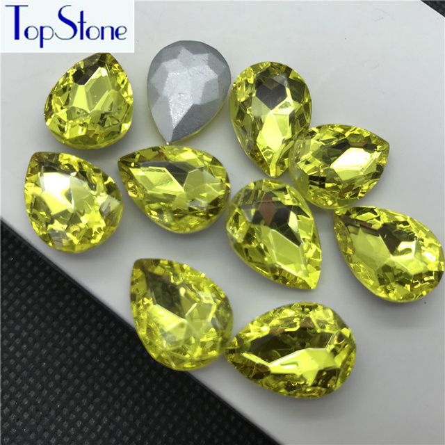Citrine Color TEARDROP Glass Crystal POINTED BACK Rhinestones 5x8 ... bc99254d376e