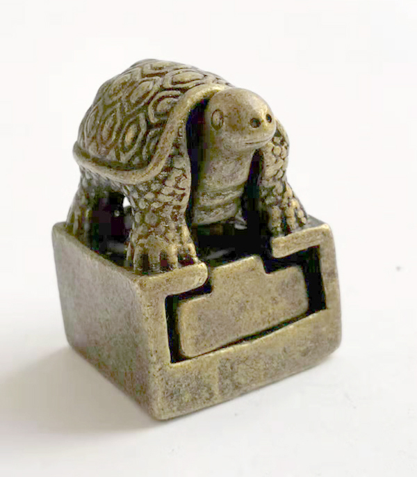 ( Mini ) Delicate Interesting Chinese Old-style Brass Carved Separable Auspicious Tortoise Statue Seal