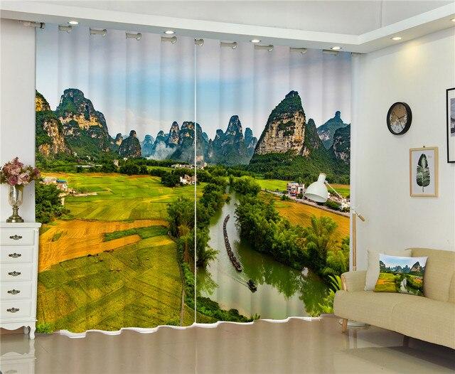 Taille personnalisée fenêtre rideaux chinois montagne de luxe d