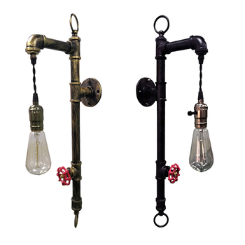 Creative Single Head Iron Water Pipe E27 Wall Lamp Vintage Industrial Wind Bedside Wall Light For Restaurant Bar Study Cafe