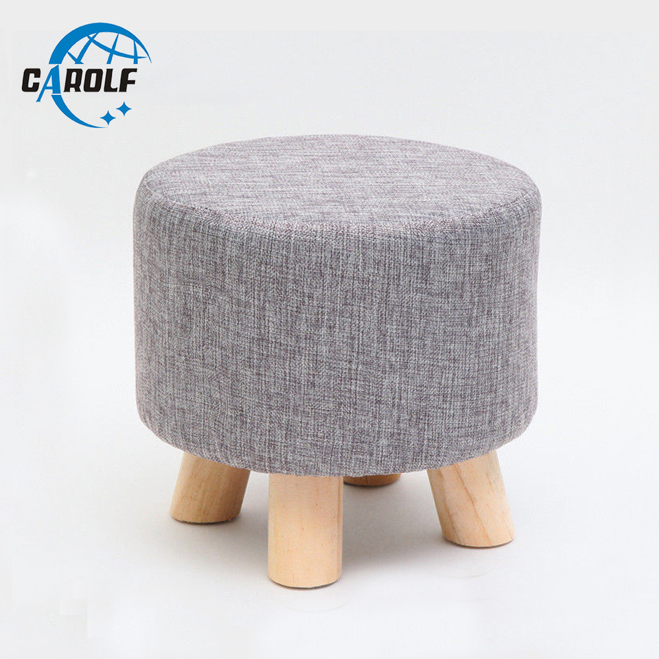 Wooden Ottoman Stool Round Fabric Sofa
