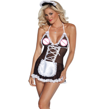 french maid sexy costumes lace women sexy lingerie hot hat+costumes erotic lingerie porn babydoll sexy underwear role play