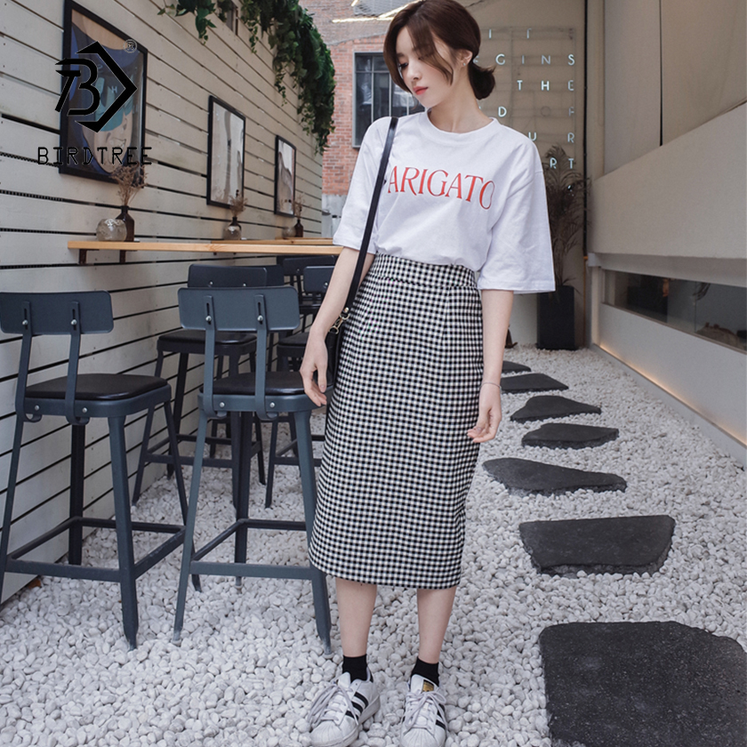 2019 New Arrival Women's Plaid Straight Back Split Harajuku Skirt Retro High Waist Skirts Feminina Knee Length Faldas T92904F