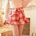 Princess sweet lolita shorts Candy rainSweet falbala wool rabbit hair grid in the waist shorts C16CD5913