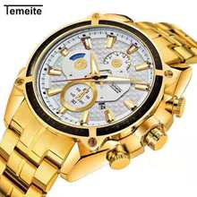лучшая цена New Fashion Luxury Brand Men Gold Watches Men's Waterproof Stainless Steel Waterproof and shockproof Quartz Watch Male Clock