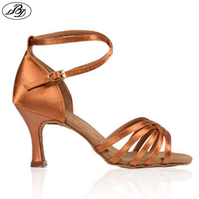 Kasut Dancesport BD 211 Wanita Latin Dance Satin Shoes Dark Tan Kasut Profesional Heel Kulit Lembu Sole Anti Slide