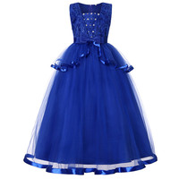 Beading Flower Girl Dresses For Weddings Lace Appliqued Little Kids Baby Ball Gowns Cheap Long Communion Dress Gowns 11 Years