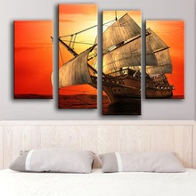 Sale Modern Canvas New Product Print Painting Wall 4pc/set Zaglowiec Sea Sky Art Picture For Living Room Free Shipping