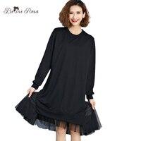 BelineRosa 2017 Women S Black Dresses European Style Mesh Shirt Dresses Autumn Winter Plus Size Basic