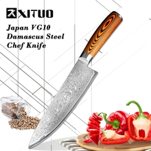 XITUO 8 Inch Professional Damascus Chef Knife 67 Layers Japanese Stainless Steel VG-10 Core wood handle Cooking Tools