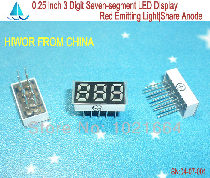 (10pcs/lot) LED Display 0.25 Inch 10 Pins 3 Digits 7 Segment Red LED Display Share Common Anode Digital Display 2531BR