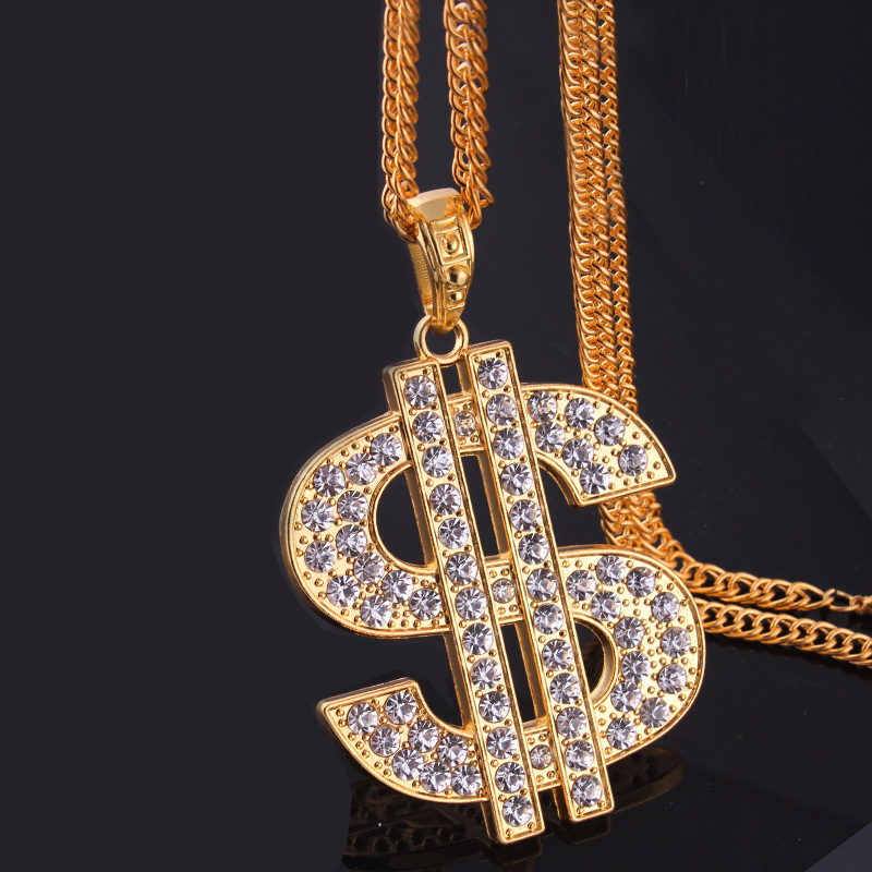Gold Color $ Symbol Pendant Hip Hop Bling Bling Dollar Sign 80cm Gold Link Chain Pendant Necklace Men Women Jewelry