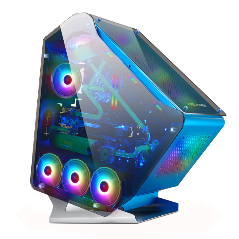 618*230*610mm DIY computer PC Gamer Case diamond-shaped aluminum alloy Side Transparent Glass Luminous Water Cooling Chassis 1