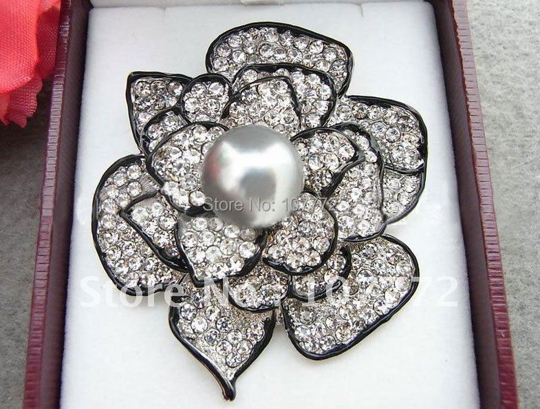 Stunning 14MM Grey Pearl Rhinestone Flower Brooch FREE SHIPPMENT