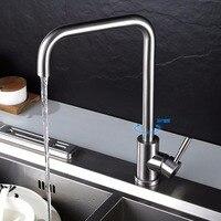 SUS304 Stainless Steel Dish Basin Faucet Water Tap Ceramic Disc Cartridge Single Hot Cool Water Mixer