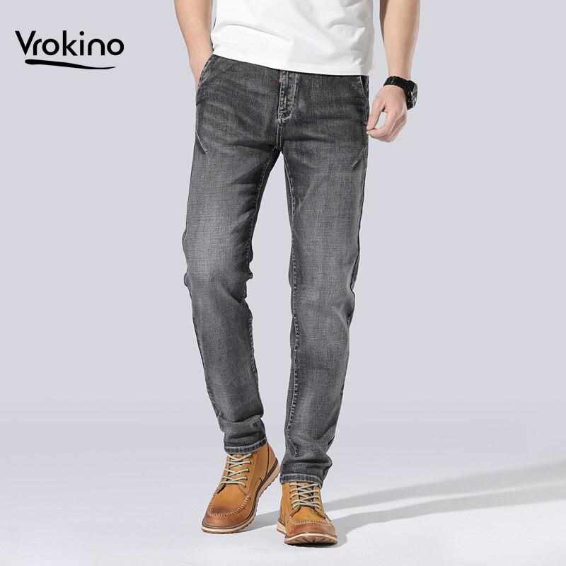 2019 New Shelves Large Size 30-48 Men's Fashion Dark Grey Jeans Men's Cotton Exquisite Loose Jeans Pants Brand Men's Clothing