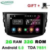 Funrover Android 6.0 2G+32GROM Car dvd Player For Toyota RAV4 Rav 4 2007 2008 2009 2010 2011 2 Din 1024*600 gps navigation wifi