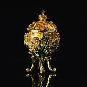 Image 3 - Qifu Metal Handicraft Small Faberge Egg Jewelry Box Home Decor