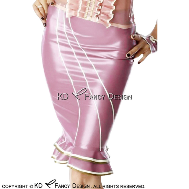 0b9d19407 Metallic Pink With White Golden Trims Sexy Latex Skirts With Ruffles At Bottoms  Rubber Skirt Bottoms DQ-0027