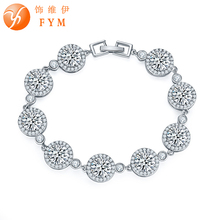 FYM Round Bracelet Silver/Rose Gold color Clear AAA Cubic Zirconia Bracelet Chain CZ Bracelet Women 18CM Jewelry Accessories fym round bracelet silver rose gold color clear aaa cubic zirconia bracelet chain cz bracelet women 18cm jewelry accessories