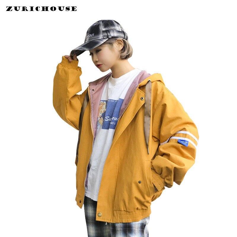 Spring Long Sleeve   Basic   Coat Women   Jackets   2019 New Chic Back-pocket Hooded Harajuku   Jacket   Loose All-match Bomber   Jacket