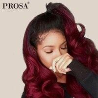 Бордовый Синтетические волосы на кружеве парик 1b/99j Цветной Ombre человеческих волос парики для Для женщин Бразильский объемная волна 360 Синте
