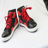 New Arrival Anime Naruto Cosplay Shoes Naruto Akatsuki Uchiha Itachi Cosplay Red Cloud Leisure Shoes Daily