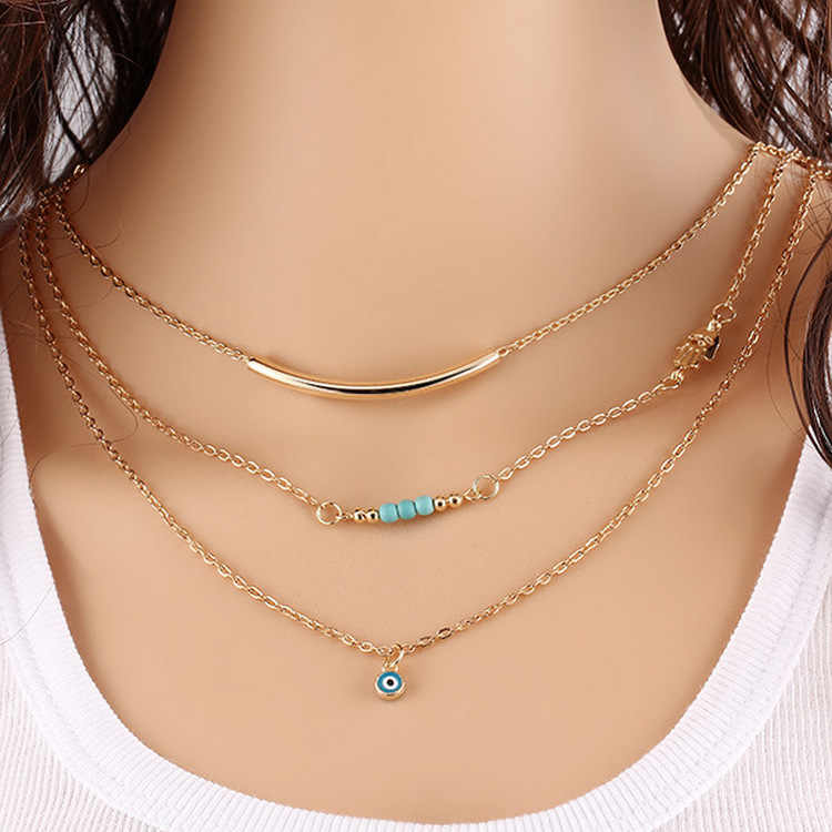 European and American fashion accessories copper tube blue eye necklace wholesale