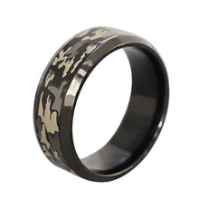 Father's Day Gift 8mm Black Men Ring Engraved Military Camouflage Stainless Steel Rings For Man