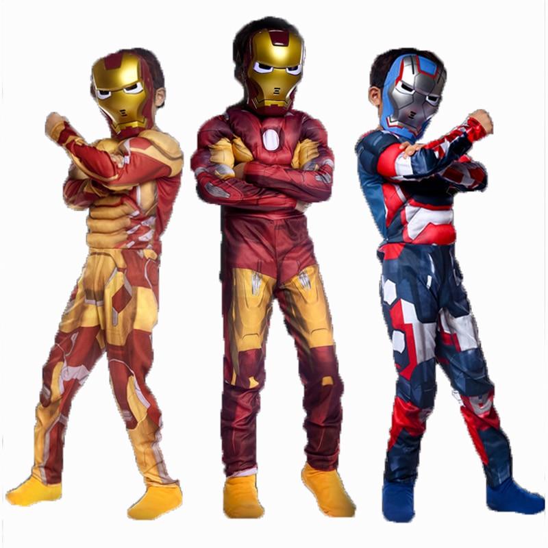 Iron Man Mark 42 Patriot Muscle Child Kids Costume Marvel Movie Fantasia Avengers Superhero Iron Man 3 Cosplay Costume with Mask