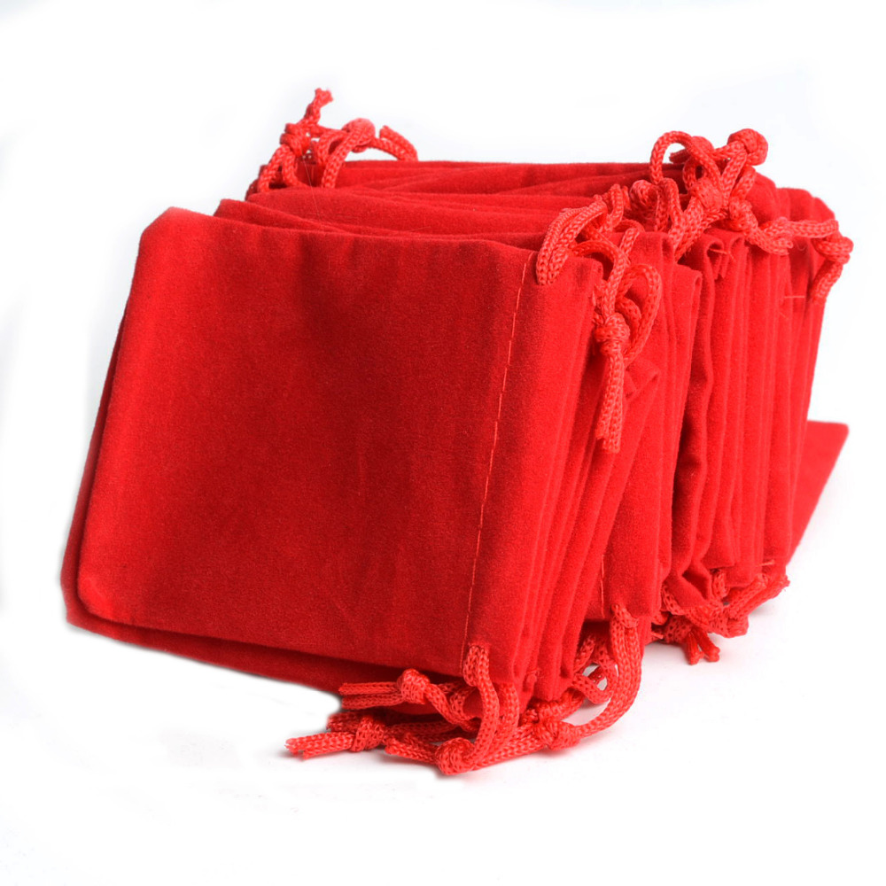 100Pcs Lot Red Velvet Drawstring Jewelry Gift Bags Pouches HOT 2 75x3 54 quot New Year Christmas Wedding Annual Party Gift Pouch Bag in Jewelry Packaging amp Display from Jewelry amp Accessories